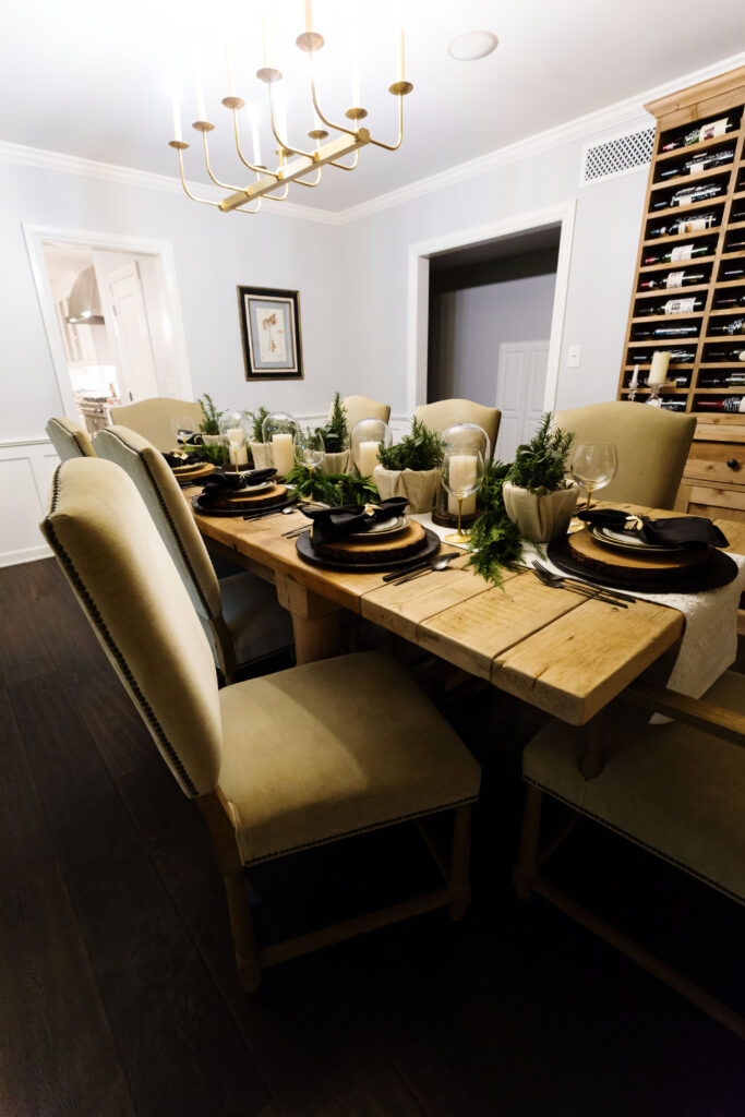black and white holiday table