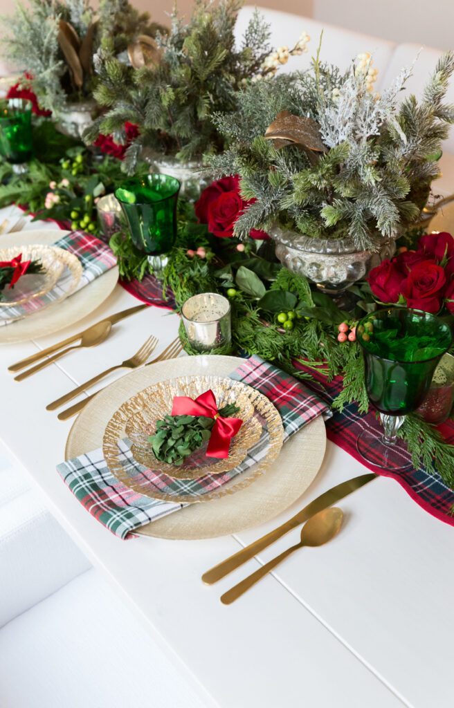 classic red and green Christmas table