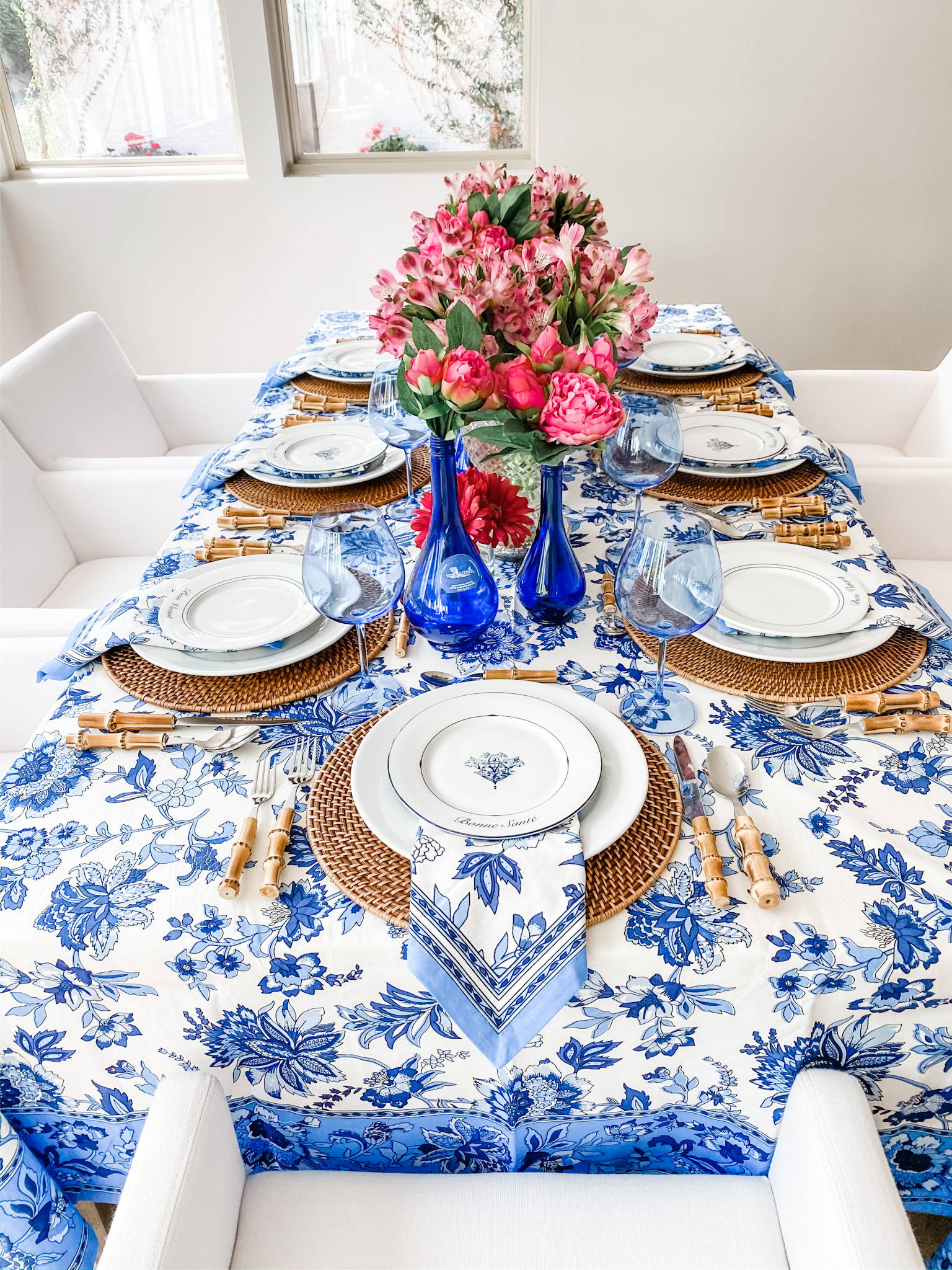 Cobalt Blue and Pink Floral Table