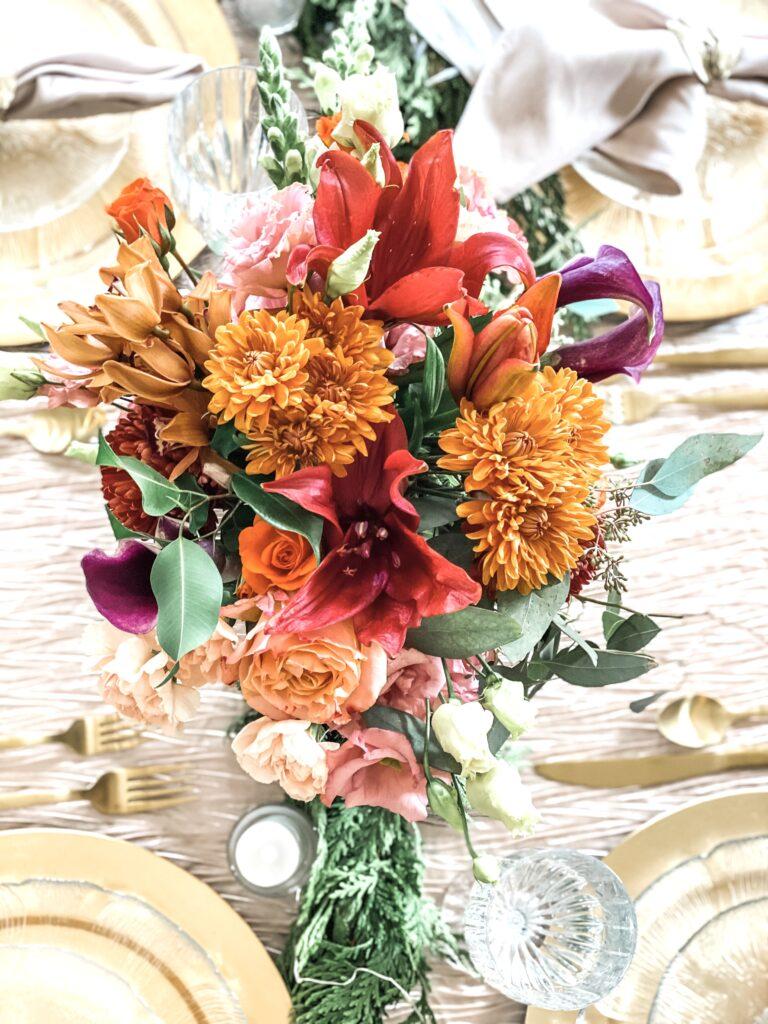 coral flower centerpiece