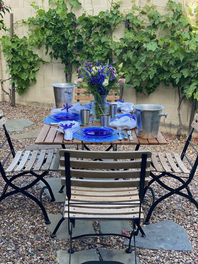 purple and blue table