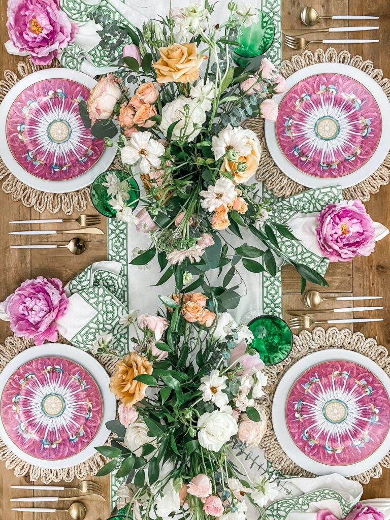 pink and green table
