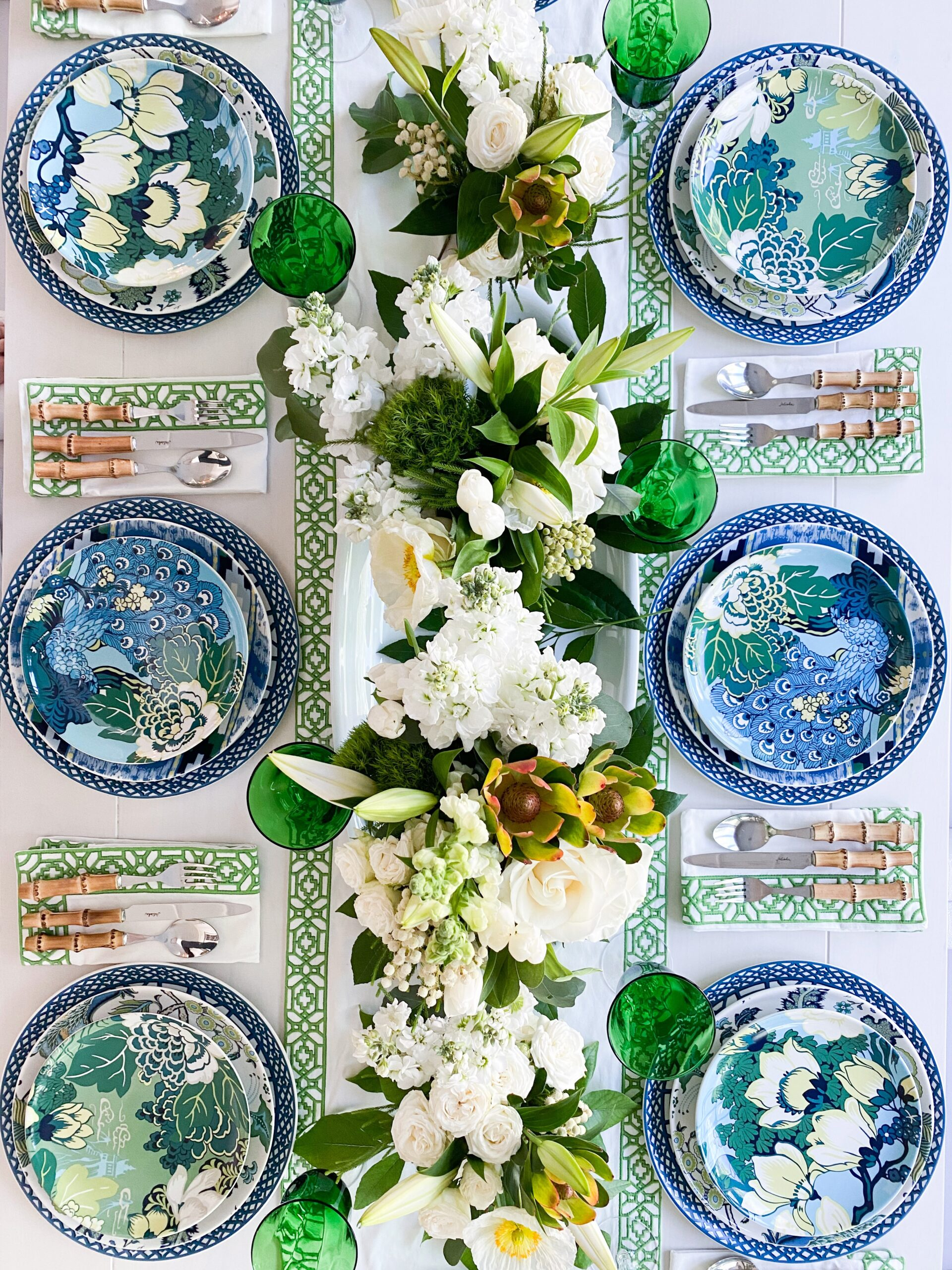Tropical Table Decor: Peacocks and Florals