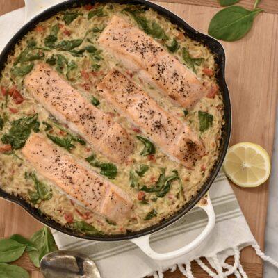 One Skillet Salmon Recipe in a Creamy Orzo Sauce