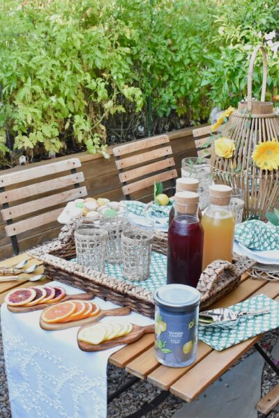 garden tea party with iced tea bar